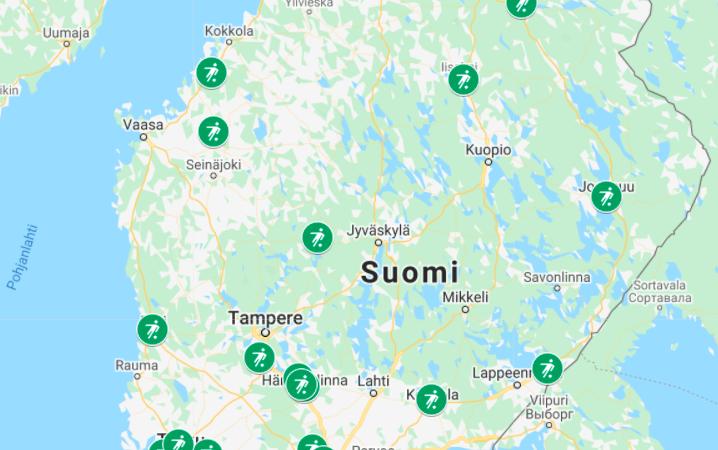 Suomen futisgolfradat kartalla – Klikkaa karttaa ja katso radat